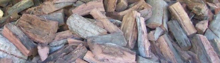 Aged Timber split into smaller pieces and then used for our bags of firewood.